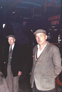 "Jim Seward (left) with his eldest son Walter James Seward (right) and ""SIR JOHN FOWLER"" in the background. Taken mid 1960s"