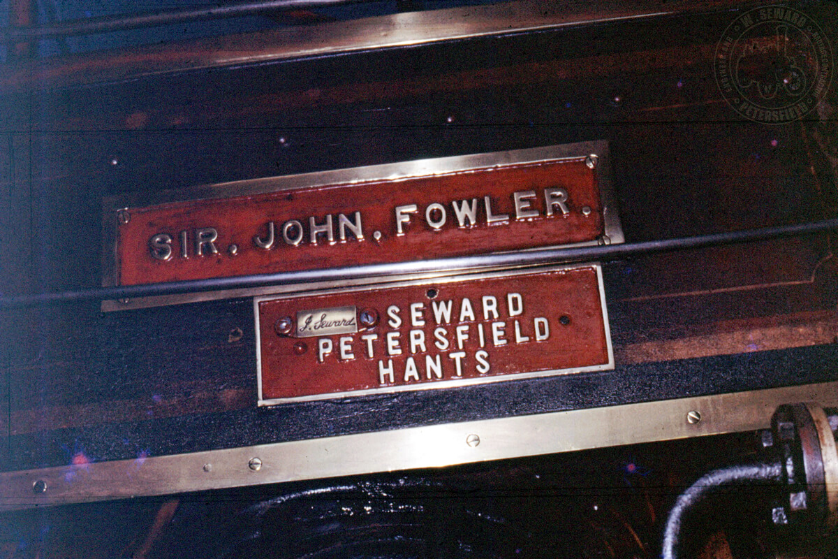 SIR JOHN FOWLER name plate on right hand side of the engine