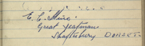 Sewards of Petersfield Visitor Book Entry, E Hine
