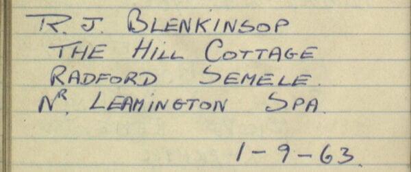 Sewards of Petersfield Visitor Book Entry, J Blenkinsop