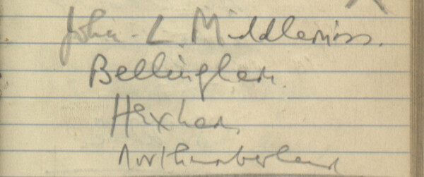 Sewards of Petersfield Visitor Book Entry, John Middlemiss